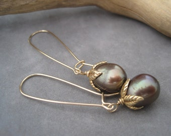 Pearl Earrings - Dark Green- Iridescent- Long Drops - Decorative Fresh Water Pearl Earrings -