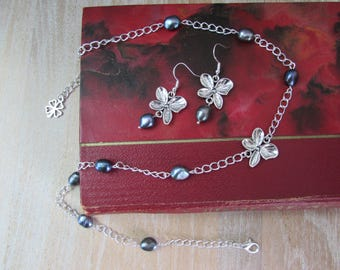 "Set necklace and earrings, silver, black freshwater pearls, Silver Flower ""Rikitea"""