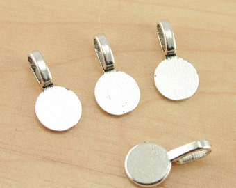 ROUND Shaped ECONOMICAL Glue on Bails - Tibetan, antique silver finish, heavy weight, Pick your quantity -  for Pendant Making
