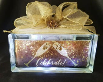 Celebrate New Years eve with a champagne toast and this elegant decor/nightlight