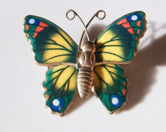 Vintage Metal Butterfly Pin brooch Yellow and Green