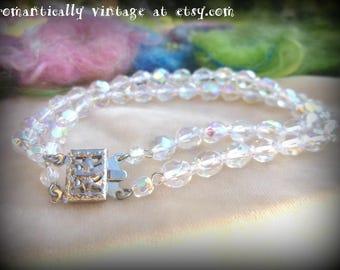 Sale, Vintage, Aurora Borealis, Bracelet, Handmade,  Accessories, Shabby Chic, Beaded