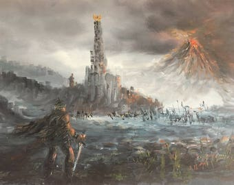 Lord of the Rings Oil Painting on Canvas, Mordor Landscape