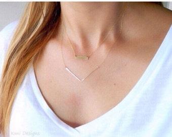 Gold V Bar Minimal Necklace, Gold Chevron Necklace, Dainty V Bar Necklace