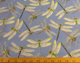 Dragonfly cotton fabric by the yard
