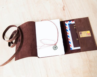 Leather journal with pocket, Leather sketchbook, Travel Journal