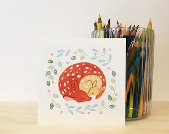 Deer Cuddle Illustration postcard
