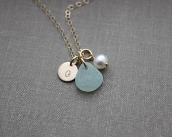 Pearl and genuine sea glass Initial Jewelry 14k Gold Filled Personalized Necklace Simple Monogram Single Charm Rustic