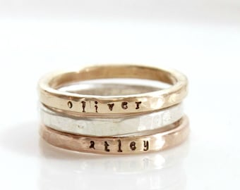 Stackable Name Rings, gift for mom, wife, mixed metals, Name Ring, Personalized Hand Stamped Ring, Custom Mom Ring, Kids Skinny Name Ring
