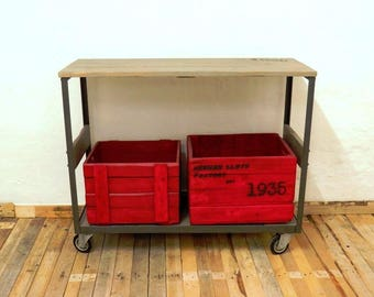 Console with wheels, trolley, coffee table, display