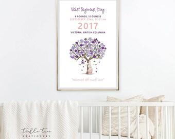 Art Print - Birth Poster, Violet Tree & Bunny (W00024)