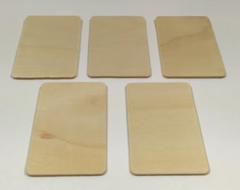 "3"" x 2""  Wood Rectangles - Set of 5 - Wood Tiles - Unfinished Wood - 1/8"" Thick - Wooden Rectangle"