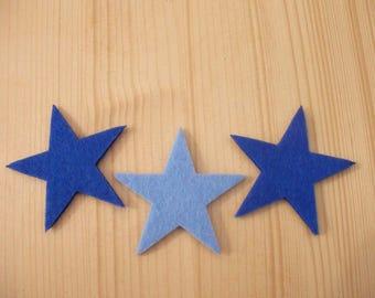 set of 3 small felt #6 stars