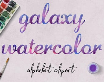 GALAXY Watercolor Letters, Handmade Lettering, ABC Clipart, Calligraphy Font, Typeface Alphabet Cliparts, Instant Download, BUY7FOR10