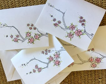 Handpainted cards cherry blossoms watercolor