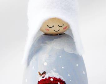 Christmas Post Cornish Pixie Elf Wooden Decoration