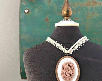 Entangled Necklace - The Nostalgia Series - Wearable Fiber Art by Fringe