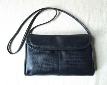 envelope clutch bag or long strap purse, navy blue vinyl, vegan faux leather handbag, vintage 80s Bueno