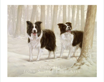 Border Collie Portrait, Winter Friends. Limited Edition Print. Personally signed and numbered by Award Winning Artist JOHN SILVER. jsfa030