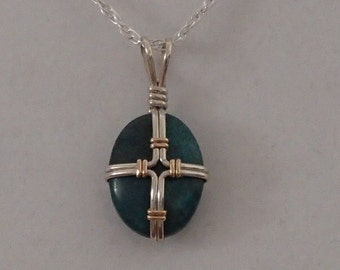 Cross Necklace, Turquoise, and Sterling Silver