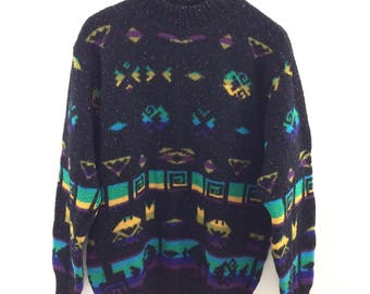 Vintage 1980s United Colors of Benetton Hieroglyphic Cosby Sweater