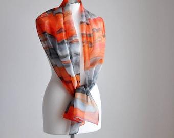 Silk scarf,Stripes Hand painted silk scarf, Long fashion scarf,orange and gray scarves,Lightweight silk shawl,Wedding accessory,Gift for mom