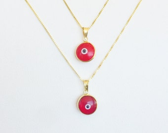 Eye Pendant, Red Pendant, Red Jewelry, Eye Necklace, Red Charm, Good Luck Charm, Round Evil Eye Necklace