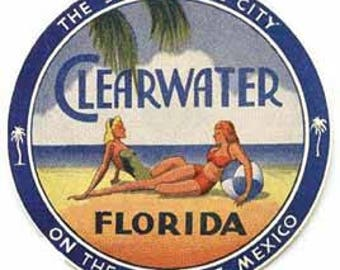 Vintage Style Clearwater Florida Travel Decal sticker