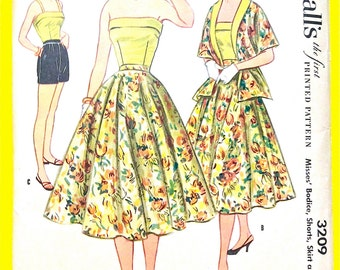 Uncut McCall's 3209 1950s Misses' Bodice, Shorts, Skirt and Stole Women's Strapless Fitted Bodice Full Skirt Vintage Sewing Pattern Bust 32