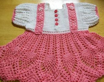 Crochet Baby Dress, Pink Baby Dress, Handmade