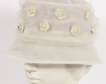 1960s Vintage hat white tulle with flowers
