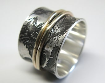 Feathers Spinner Ring in Recycled Sterling with 10k Gold or Sterling Spinner