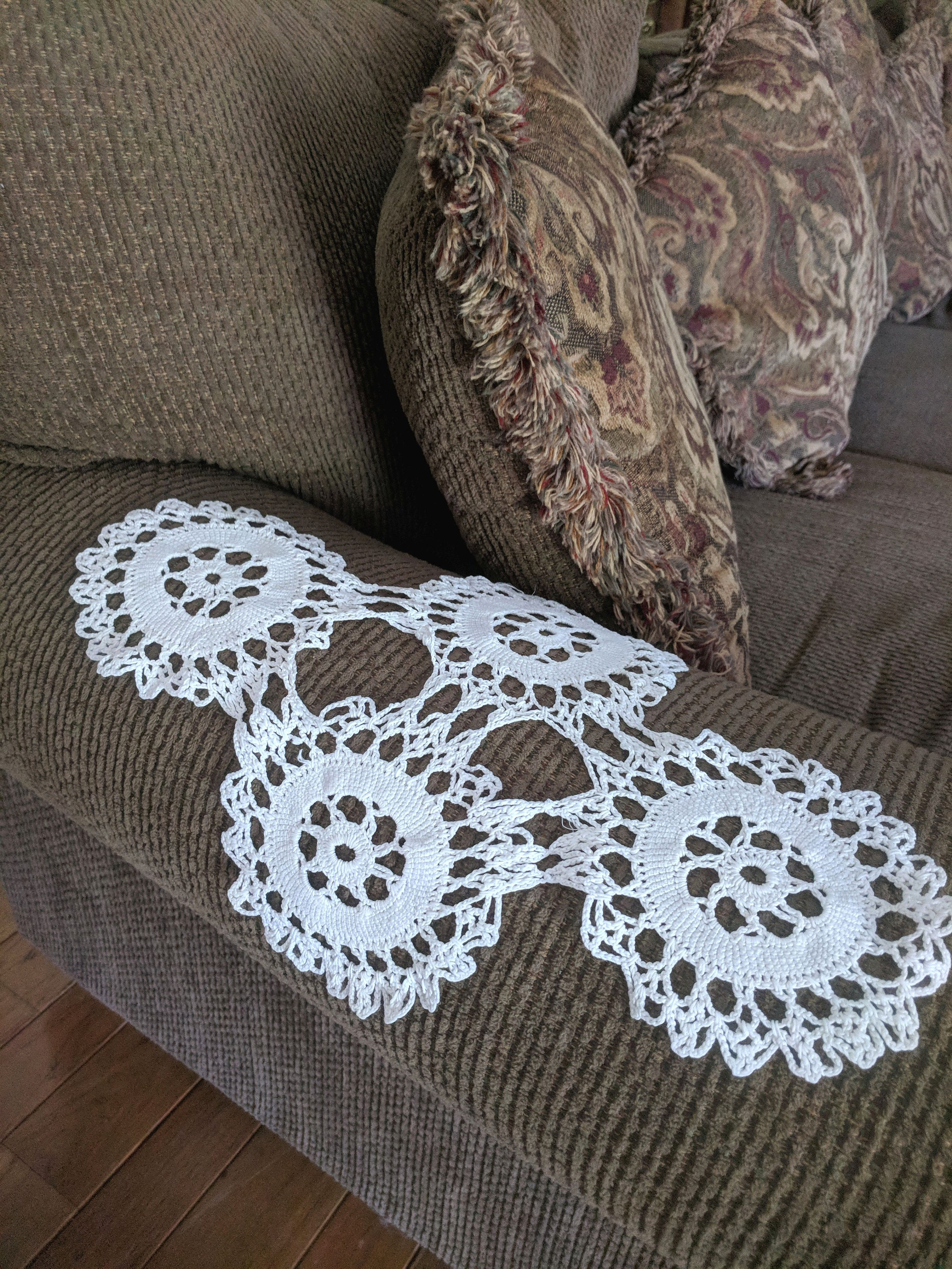 Free Shipping Pair Of Vintage Armchair Doily Antimacassar