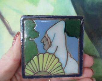 Mensaque Rodriguez Spanish Senorita Vintage Small  Art Tile Sevilla