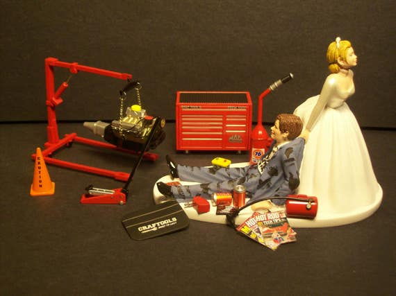 car guy wedding cake topper auto mechanic tool set w engine hoist stand mac set and 12388