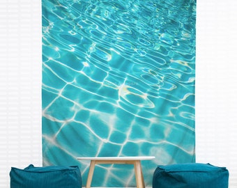 Pool Ripples Hanging Wall Tapestry, Home Decor, Dorm Art, Blue Water, Tropical Island Decor, Waves, Turquoise, Headboard Tapestry, Nautical