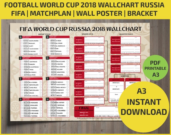 Wallchart FIFA 2018 World Cup Russia PDF / Printable/ Bracket