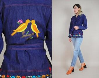 70's Bird Embroidered Jean Jacket