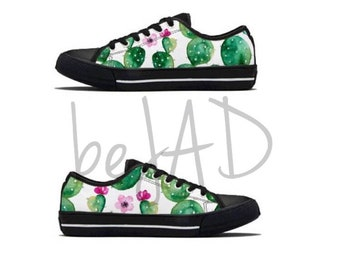 Women cactus shoes - matching shoes - converse style - cactuses, tropical. desert
