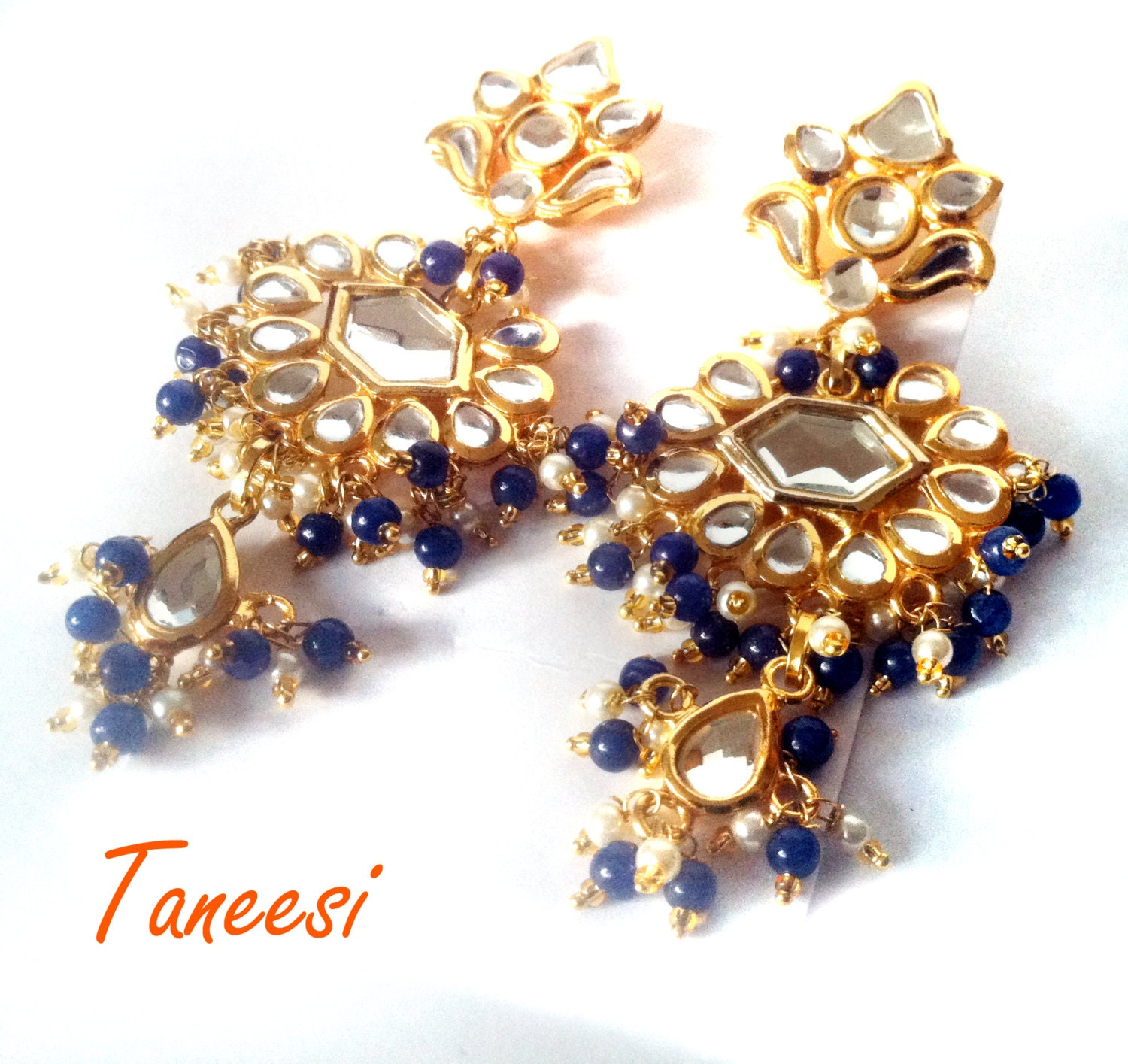 Kundan Chandelier Earrings BluePearl and Gold Earrings Mirror
