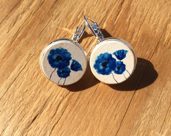Blue Poppies: Wood French Lever Earrings