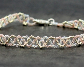 Beaded Anklet - Braided Anklet - Seed Bead Ankle Bracelet - Beadwork Jewelry - Summer Anklet - Unique Anklet - Delicate Jewelry