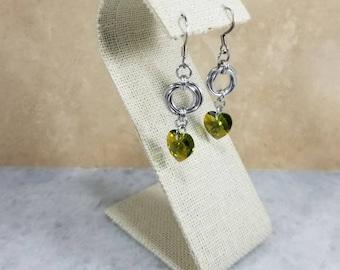 Chainmaille Mobius Earrings Olivine Swarovski Heart