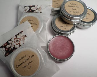 Vegan-Cinnamon Mint Cocoa LIP BALM-with light sparkly pink color-Gluten Free-1/4 oz.
