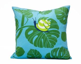 Velvet Cushion Cover, Pillow Cover, Snail and monstera leaf