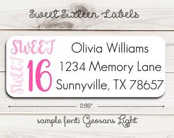 Sweet Sixteen Return Address Labels