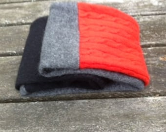 Cashmere Red Black Gray infinity Scarf