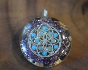 Seed Of Life Pendant: Silver Seed of Life, Blue Howlite, Jade, 24K Gold, Glass