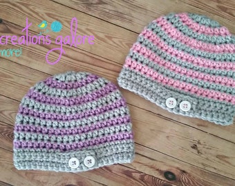 Crochet Stripped Button Tab  Hat-Pink or Purple