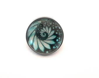 Snap snap 18mm spiral with black and blue/green tones